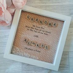 This handmade Scrabble art Frame makes a lovely Gift for a Special Nana, Grandma, Nanny, Nain or Mother! Scrabble Crafts, Scrabble Art, Scrabble Tiles, Diy Gifts For Mom, Homemade Gifts, Aunt Gifts, Gifts For Grandma, Baby Gifts, Fun Crafts