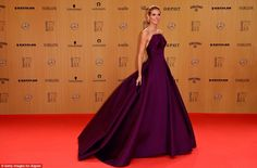 Jaw-dropping: German model Heidi Klum turned up for the award looking amazing in a dark pu...