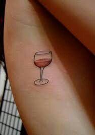 Wine glass Cute Tattoos, Small Tattoos, Wine Tattoo, Small Tattoo Designs, Tatting, Wine Glass, Body Art, Ink, Friday