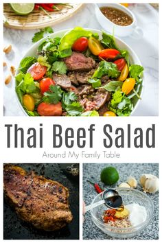 This Thai Beef Salad features thin slices of beef on fresh salad greens and herbs like mint, basil and cilantro, all tossed in a tangy and spicy Thai dressing then topped with chopped peanuts for some added crunch. Side Salad Recipes, Chicken Salad Recipes, Healthy Salad Recipes, Pasta Recipes, Healthy Chicken, Healthy Snacks, Soup And Salad, Pasta Salad, Macaroni Salad