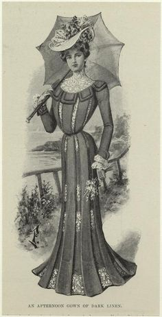 1900 An Afternoon Gown Of Dark Linen. From New York Public Library Digital Collections.