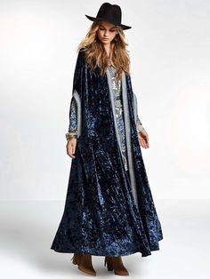SheIn offers Embroidered Taped Trim Velvet Longline Cardigan & more to fit your fashionable needs. Cardigan Long, Longline Cardigan, Velvet Cardigan, Boho Fashion, Fashion Outfits, Fashion Design, Sequin Kimono, Mode Abaya, Mode Boho