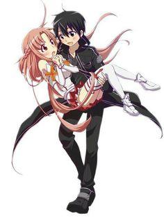 Sword art online Kirito and Asuna - See more anime at: www.cartoonanimefans.com