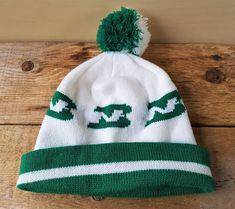 73760bb5937 Vintage BURLINGTON NORTHERN Railroad Train Beanie Knit Toque Pom Winter Ski  Hat Retro Stocking Cap Green   White One Size Fits All