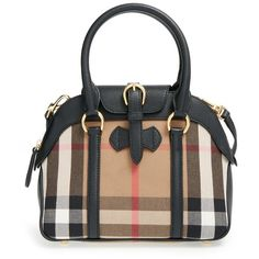 Burberry 'Small Milverton - House Check' Satchel ($1,395) ❤ liked on Polyvore featuring bags, handbags, black, satchel bags, black purse, burberry, black satchel handbag ve black satchel bag
