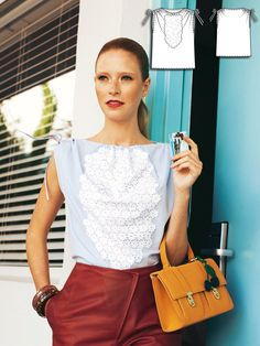 Burda Style: This blouse is quick and easy to sew with drawstring casings for the shoulders to add a gathered effect. The appliqué on the front is made from lovely broderie anglaise and would be a great way to show off a vintage trim or handkerchief.