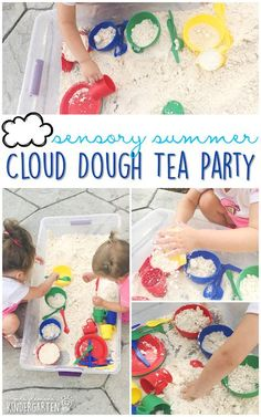 10 Ways to Play with Cloud Dough {Sensory Summer} - Mrs. Water Games For Kids, Games For Toddlers, Indoor Activities For Kids, Infant Activities, Toddler Games, Sensory Activities, Family Activities, Outdoor Activities, Preschool At Home