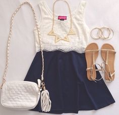 Gorgeous dark navy blue pleated skirt with top white blouse and white leather hand bag and cute ladies shoes and awesome necklace and braslates the best summer teenage outfits