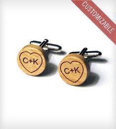Custom Wood Heart Cufflinks