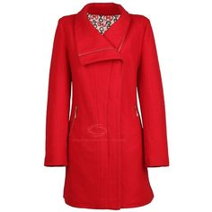 Simple Design Turndown Collar Long Sleeved Red Coat For Women ❤ liked on Polyvore