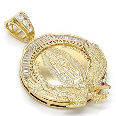 Cubic Zirconia Gold Layered Religious Pendant, Guadalupe and Eagle Design, with White and Ruby Cubic Zirconia, Polished Finish, Gold Tone - 1 Gram Gold Jewellery, Silver Jewellery Online, Gold Jewelry, Vintage Jewelry, I Love Jewelry, Jewelry Design, Mexican Jewelry, Layered Jewelry, Ancient Jewelry