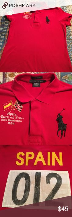 Ralph Lauren Skinny Polo shirt-Spain Madrid Size medium worn twice at most! Love this shirt but doesn't fit me anymore😖. Needs a new home! Ralph Lauren Tops