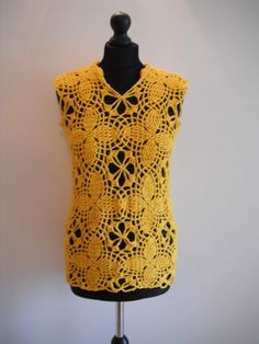 how to crochet yellow motif tunic top sweater free pattern tutorial