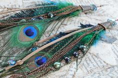 Cooper, Peacock Feather, Freshwater Pearls, and Suede Boho Chic Long Feather Earrings with Bronze Chain Accents by Adrienne Adelle $47.75