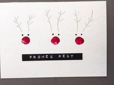 Weihnachtskarten selber machen, einfach, schnell mit Fingerabdrücken und mit Wow-Effekt. Super für Kinder zum Basteln geeignet.