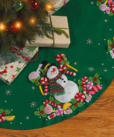 Take a look at this Candy Snowman Tree Skirt Embroidery Kit on zulily today! Christmas Sewing, Felt Christmas, Christmas Projects, Holiday Crafts, Christmas Stockings, Christmas Ornaments, Holiday Decor, Christmas Christmas, Xmas Tree Skirts