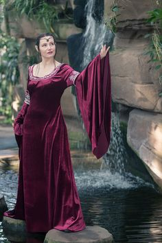 Arwen Cranberry Dress for lord of the rings cosplay, unique dress in size S-M, dark red velvet and silver embroidery; unique wedding dress - pinned by pin4etsy.com
