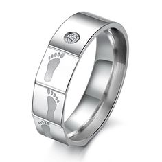 cool Mens Wide 5mm Stainless Steel Band Ring CZ Silver Feet Valentine Love Couples Wedding Engagement Promise His Hers Size9 See it here! https://steampunkvapemod.com/product/mens-wide-5mm-stainless-steel-band-ring-cz-silver-feet-valentine-love-couples-wedding-engagement-promise-his-hers-size9/