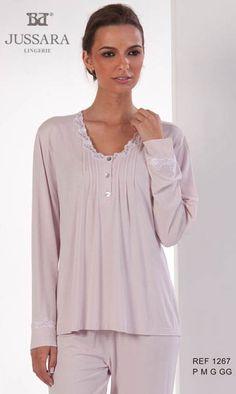 Pijama feminino viscolycra liso Bordados Jussara 1267