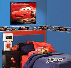 """Trying to find a """"cheaper"""" way to decorate a CARS room:) framed posters Red and Blue bedding with CARS accents"""