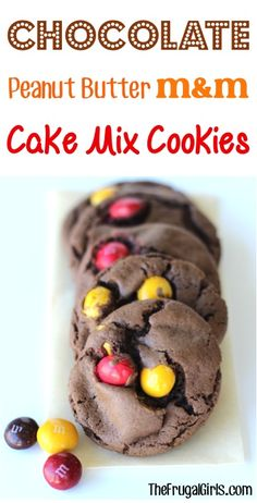 Chocolate Peanut Butter M&M Cake Mix Cookie Recipe! ~just 4 ingredients and you're on your way to some of the BEST cookies ever! Cake Mix Cookie Recipes, Cake Mix Cookies, Yummy Cookies, Yummy Treats, Sweet Treats, Cake Mixes, Homemade Cookies, Cake Recipes, Cupcakes