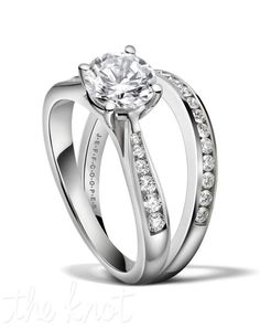 """Round diamond engagement set from the """"Duet Collection"""", shown here in Platinum. The ring tapers up towards your center stone to make it more profound and bold. The matching band R-3266/B(0.20 ct ttl) is sold separately and fits seamlessly with it's match. We can craft this ring to fit any size and shape stone you want to set. 100% hand made in the USA. Currently featured in the Summer issue of """"The Knot"""" magazine. R-3266 0.20 ct ttl. Also available in white gold and yellow gold."""