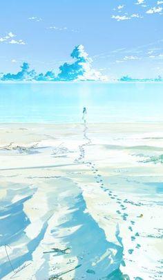 On the beach illustration Fantasy Landscape, Landscape Art, Fantasy Art, Scenery Wallpaper, Wallpaper Backgrounds, Art Manga, Anime Art, Beach Illustration, Manga Illustration