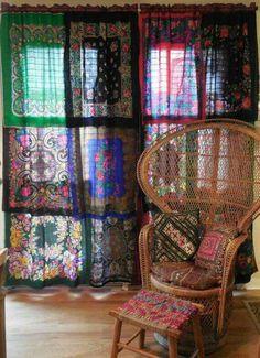 Silk scarf curtains.