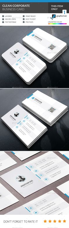 Clean Corporate Business Card Template PSD #design Download: http://graphicriver.net/item/clean-corporate-business-card-/14164056?ref=ksioks
