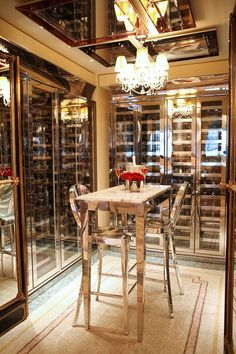 The wine cellar in the restaurant of Le Meurice Hotel, Paris France