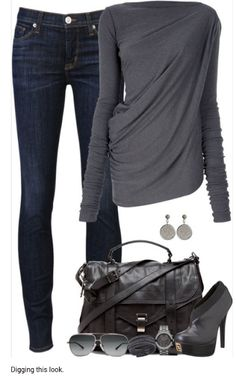 love the drape of the top and wash of the jeans. the high heals won't work out here, but I love the rest