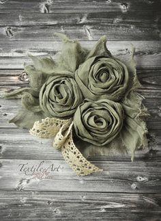 """Купить Брошь """"Бохо-романтика"""" - тёмно-зелёный, травяной, кружево, брошь, украшение, текстильное украшение"""