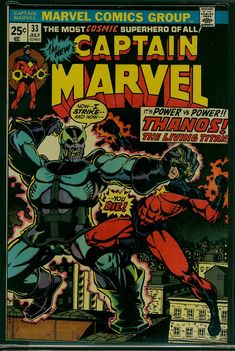 Captain Marvel marvel bronze age comic book cover art by Jim Starlin Captain Marvel, Marvel Vs, Dc Comics, Star Comics, Book Cover Art, Comic Book Covers, Book Art, Marvel Comic Books, Comic Books Art