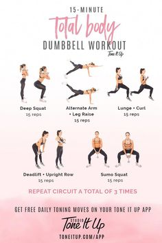 – Fitness&Health&Gym For Women 15 min Total Body Dumbbell workout! – Fitness&Health&Gym For Women 15 min Total Body Dumbbell workout! – Fitness&Health&Gym For Women Total Body Toning, Full Body Workout Routine, Toning Workouts, Pilates Workout, Yoga Exercises, Workout Fitness, Week Workout, Full Body Workouts, Workout Guide