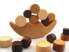 wooden balancing toy from smiling tree toys on etsy $38
