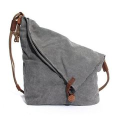 Ekphero Women Men Canvas Crazy Horse Gray Button Shoulder Bags Cowhide Casual Crossbody Bags
