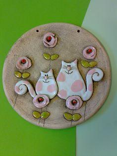 Kočičky+jako+z+cukrové+vatičky+Keramický+obrázek+průměr+15+cm