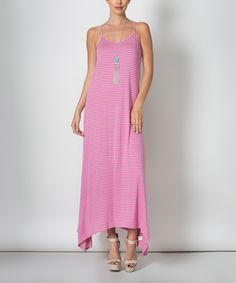 This Avenue Hill Pink & Mint Stripe Cutout Maxi Dress by Avenue Hill is perfect! #zulilyfinds