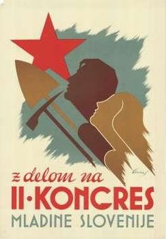 Yugoslavia 1945. Youth of Slovenia Congress poster.