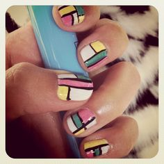 pastel mondrian nails