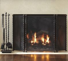 TWISTED METAL TRIPLE SCREEN FIREPLACE COLLECTION-pb