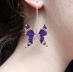 Macrame Chevron Butterfly Dangle Earrings in Amethyst and Purple and Gold Chevron Friendship Bracelets, Friendship Bracelets Tutorial, Bracelet Tutorial, Macrame Jewelry, Macrame Bracelets, Macrame Knots, Loom Bracelets, Crystal Earrings, Dangle Earrings