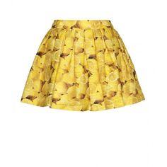 Alice + Olivia Ginnie Wide Pleat Print Miniskirt ($307) ❤ liked on Polyvore featuring skirts, mini skirts, bottoms, saias, lemon print, short summer skirts, summer skirts, yellow skirt, mini skirt and shiny skirt