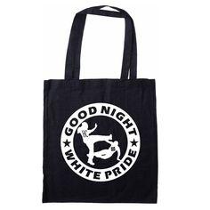 Stabile Baumwolltragetasche mit langem Henkel und Good Night White Pride Druck. Maße ca 41 x 36 cm 4,90 Euro