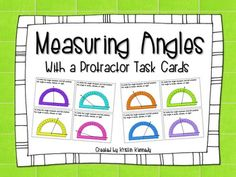 Measuring Angles With a Protractor Task Cards provide a fun way for students to practice protractor measuring.  The cards can be used in a center, for scavenger hunts, or to play Scoot.  This set includes 24 task cards total.  Cards 1-16 include angle measures to the nearest 5 and 10 degrees, and cards 17-24 include angle measures to the nearest 1 degree.