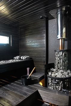 Contemporary Finnish sauna by house building company Kannustalo Saunas, Sauna Steam Room, Sauna Room, Jacuzzi, Piscina Spa, Sauna Seca, Sauna House, House Bath, Outdoor Sauna
