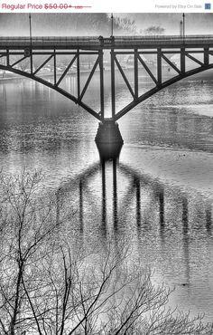 ON SALE Photography City Philadelphia B&W by KateRyanFineArt #Schuylkill #River #Bridge #Holidaygifts #Art #Home #Office #Photography