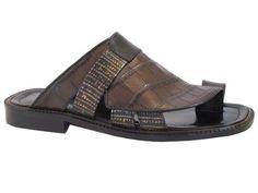 Davinci 3983 Men's Push In Toe Italian Leather Sandals Brown/Black