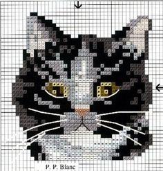 Black and white cat cross stitch chart Cat Cross Stitches, Cross Stitch Charts, Cross Stitch Designs, Cross Stitching, Cross Stitch Embroidery, Embroidery Patterns, Cross Stitch Patterns, Loom Patterns, Cross Stitch Animals