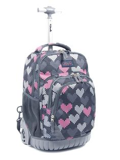 e548aa2288c1 Tilami Cute Rolling Backpack 18 Inch Multifunction Wheeled Backpack Falling  Love